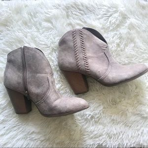 🔴 Lane Bryant Suede Braided Ankle Boots in Taupe
